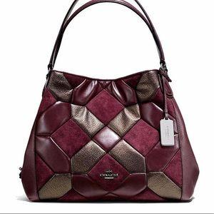 Coach Edie Oxblood & Bronze Patchwork Leather Bag